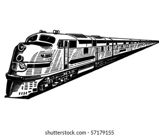 Passenger Train - Retro Clip Art
