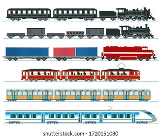 Passenger trains. Subway train, high speed trains, steam train. Illustration vector