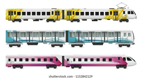 Passenger tram train realistic mockup set of suburban underground metropolitan and intercity trains on blank background vector illustration