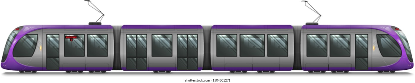 Passenger Tram Train, Streetcar. Modern Urban Tramcar. City Electric transport Isolated on white