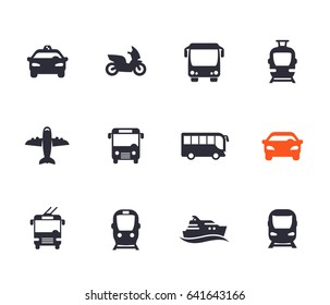 Passenger transport icons set