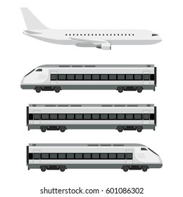 Passenger transport. Plane with train on white background. Vector flat illustration