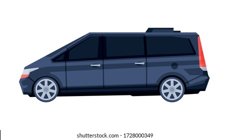 Passenger Van Minibus, Black Government or Presidential Vehicle, Luxury Business Transportation, Side View Flat Vector Illustration