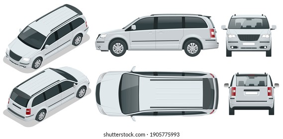 Passenger Van or Minivan Car vector template on background. Compact crossover, SUV, 5-door minivan car. View isometric, front, rear, side, top.