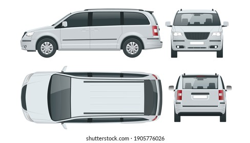 Passenger Van or Minivan Car vector template on white background. Compact crossover, SUV, 5-door minivan car. View front, rear, side, top.