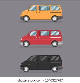 Passenger vintage colour van. Car side view. Flat cartoon isolated illustration.