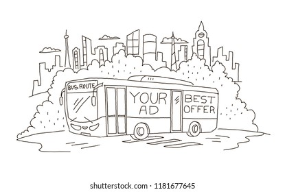 Passenger-carrying coach bus with advertising sketch.