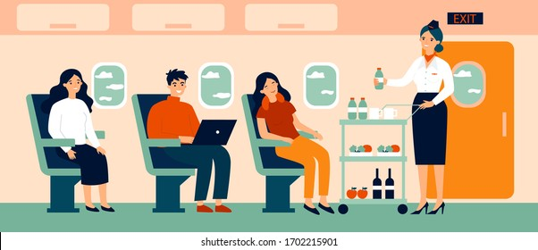 Passengers in air trip waiting for beverage flat vector illustration. Business class travelers sitting near airplane window. People travelling by plane. Airline, tourism and journey concept