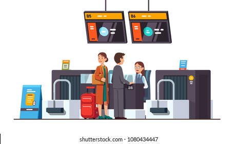 Passengers & airline company woman at international airport check in desk counter gate with weighting luggage belt, security check point metal detector, x-ray scanner. Flat vector illustration