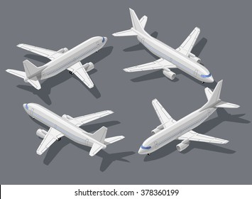 Passenger's airliner high quality detailed flat isometric vector illustration. Modern 3d airplane all around symbols. Elements for product promotion, presentation and infographics isolated on gray