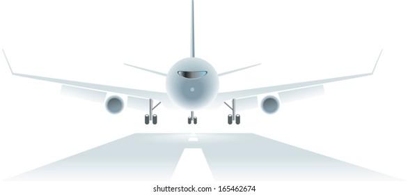 passengers airplane landing to the runway