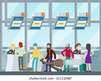 Passengers in airport concept with people at check in counters in flat style vector illustration