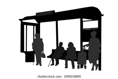 Passengers at bus station. People silhouette waiting for bus on white background, vector illustration