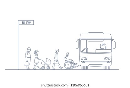 Passengers entering the bus at the bus stop. Road trip and people concept . Vector illustration in line art style