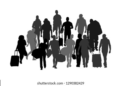 Passengers with luggage walking at airport vector silhouette. Travelers with bags go home. Man and woman carry baggage. People crowd with heavy cargo load waiting taxi after holiday Refugees on border
