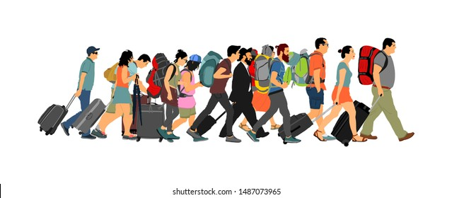 Passengers with luggage walking at airport vector. Travelers with bags go home. Tourist man and woman carry baggage. People crowd with cargo load waiting taxi for holiday. Refugees on border migration