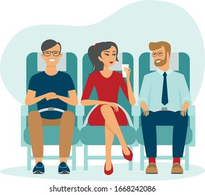 Passengers on airplane board. Cartoon people traveling abroad by plane. Air public transport. Travelers relaxing in aircraft seats. front view flat vector illustration