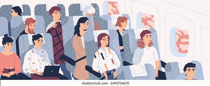 Passengers on airplane board flat vector illustration. Cartoon people traveling abroad by plane. Air public transport. Tourists going on vacation, business trip. Travelers relaxing in aircraft seats.
