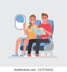 passengers on board of the aircraft, people traveling together.Vector illustration cartoon character.