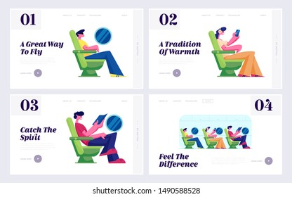 Passengers on Plane Board, Airline Transportation Service Website Landing Page Set. Tourists Travel by Airplane Sitting in Comfortable Seats, Vacation Web Page Banner. Cartoon Flat Vector Illustration