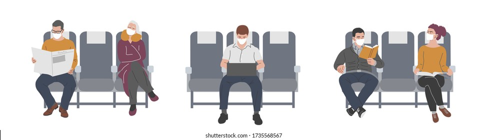 Passengers of the plane in masks. Social distancing in the cabin for prevention of coronavirus, covid-19. Flights during the quarantine. Vector flat illustration.