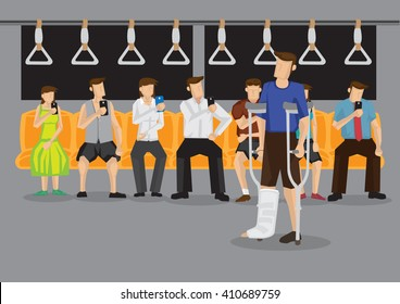 Passengers in subway looking at hand phones without noticing a handicapped person with crutch and leg in plaster cast in need of seat. Vector illustration on obsession with handphone concept.