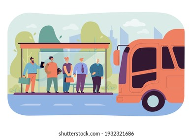 Passengers waiting for transport at bus stop. Students, businessman with suitcase and senior man standing at bus station, bus driving. Illustration for public transport, transportation concept