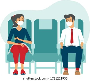 Passengers wearing protective medical masks travel by airplane. New seating regulations on flights. Travel during coronavirus COVID-19 disease outbreak. vector illustration