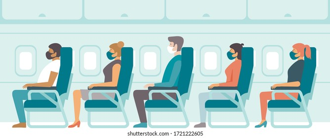 Passengers wearing protective medical masks travel by airplane. Travel during coronavirus COVID-19 disease outbreak. Concept flat vector illustration