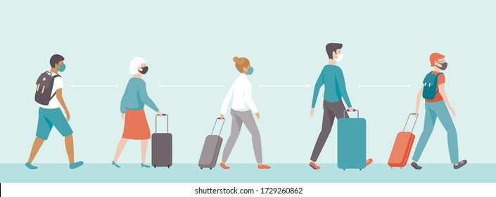 passengers wearing protective medical masks keeping distance in airport departure area. Travel during coronavirus COVID-19 disease outbreak. Concept flat vector illustration