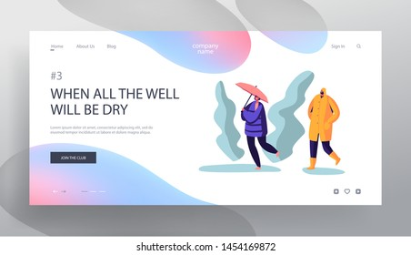 Passerby at Wet Rainy Autumn or Spring Weather. Happy Drenched People Walking Against Wind and Rain, Cold Water Pour from Sky Website Landing Page, Web Page. Cartoon Flat Vector Illustration, Banner