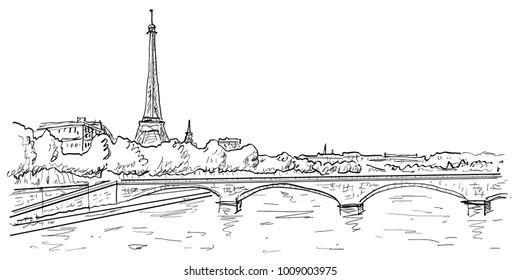 Passerelle des Arts, Eiffel tower, bridge and Seine river city landscape in urban sketch style, for travel and tourism business design vector illustration