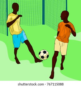 passing the ball in football by dark-skinned  men from the gate vector illustration