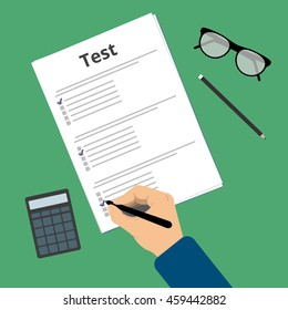 Passing exam test. Education flat vector illustration. Man fill up the exam test. Filling form with checkbox