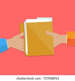 Passing a folder with documents to each other. Vector illustration.