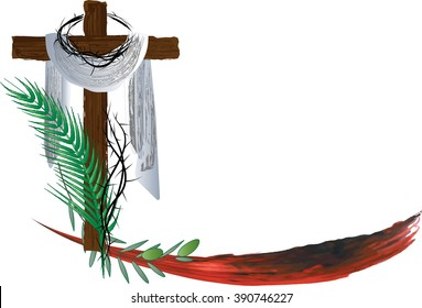 Passion of Christ - Holy Week Palm Sunday Easter. Abstract vector illustration
