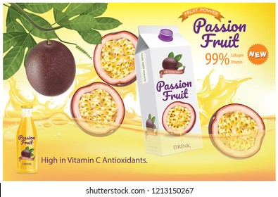 Passion fruit  juice splash Ads. Season sweet of tropical fruits. 3d realistic vector, Food concept design. of free space for your copy and branding.