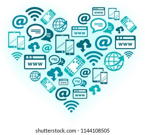 Passion for mobile communication and digitalisation - vector illustration