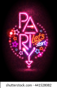 Passion pink neon lights party design, cocktail party poster