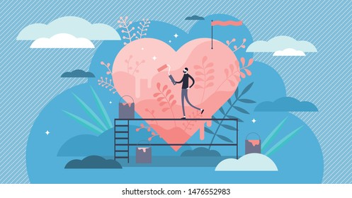 Passion vector illustration. Flat tiny hobby love feeling persons concept. Obsessive enthusiasm engagement emotions with recreation activity. Personal interest satisfaction symbolic visualization.