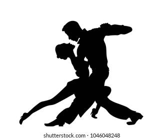 Passionat couple dancing silhouette