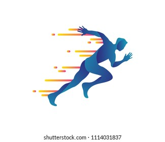 Passionate Abstract Fast Sprint Runner Symbol In Isolated White Background