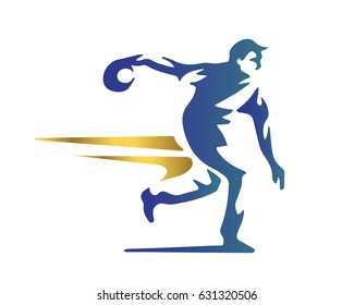Passionate Bowling Athlete In Action Logo