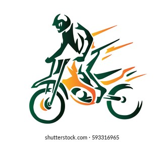 Passionate Extreme Sports Athlete In Action Logo - Motocross