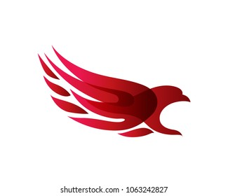 Passionate Flaming Eagle Logo in Isolated White Background