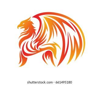 Passionate Flaming Imaginary Mythology Creature Logo - Griffin