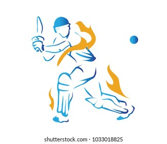 Passionate Professional Cricket Athlete in Action Logo