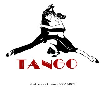 Passionate sensual couple dancing tango. Argentine Tango - isolated image
