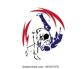 Passionate Sports Athlete In Action Logo - Winning Self Defense Judo Move