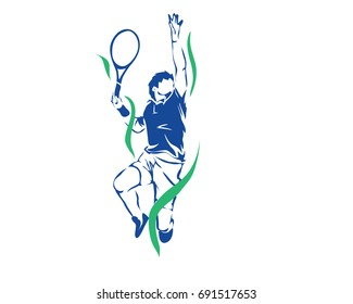 Passionate Sports Athlete In Action Logo - Passionate Tennis Player Big Serve